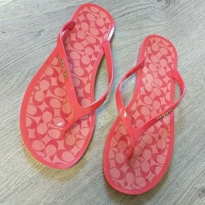 Coach Flip Flops 9 Lyra Logo Plastic Red Sandals